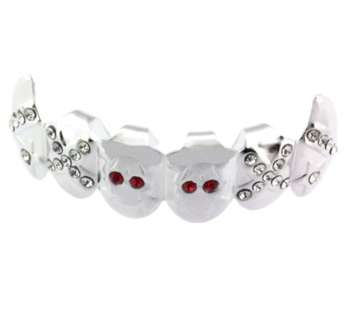 Fang Vampire Grillz Top Row Teeth - Silver Plated - Bling Teeth grills