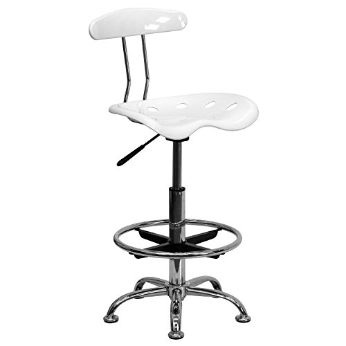 Offex Vibrant Drafting Stool with Tractor Seat, White and Chrome
