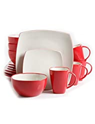 PLS Soho Lounge 16-Piece Dinnerware Set White and Red, no tax