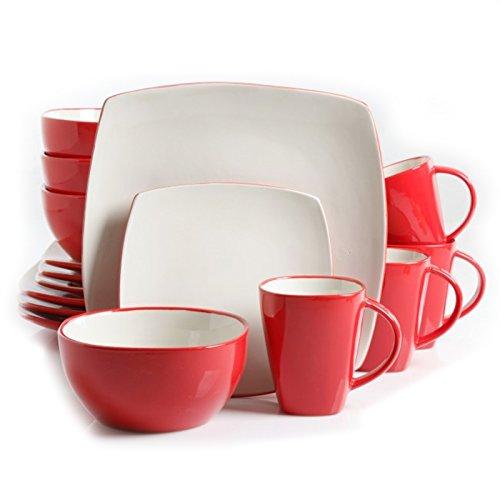 Soho Lounge 16-Piece Dinnerware Set White and Red