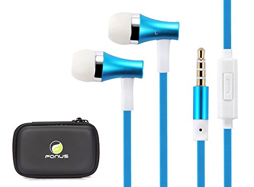 Fonus Brand High Quality Flat Cable Super Bass 3.5Mm Wired Headset With Microphone + Headset Carrying Case For Apple Iphone 5S, 5C, 5, 4S, 4