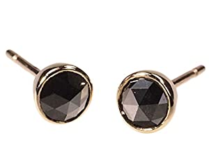 14K Yellow Gold Black Diamond Stud Earrings 4mm Bezel