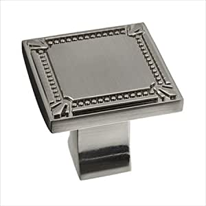 Richelieu Hardware Bp78035195 Classic Metal Square Knob With Decorative Trim 35mm Brushed Nickel
