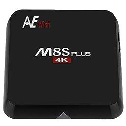 ANEWISH M8S Plus Android TV Box, M8S+ 2G/16G Amlogic S905 Quad Core 4K 1000M Gigabit Lan, Fully Loaded Kodi 16.0, Bluetooth 4.0 Dual 2.4G/5G Wifi Streaming Media Player