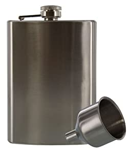 SE - Hip Flask and Funnel Set - Stainless Steel, 8 oz.