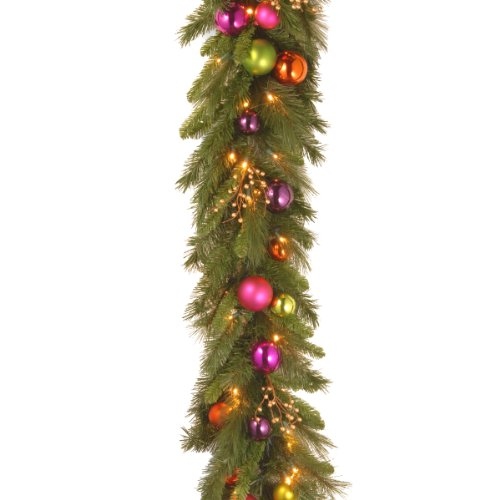 National Tree Ks13-300L-6B-1 Kaleidoscope Garland With 50 Soft White Led Battery Operated Lights, 6-Feet By 16-Inch