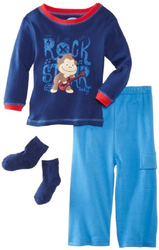 Bon Bebe Baby-Boys Infant Rock Star 3 Piece Pant Set, Navy/Blue/Red, 24 Months front-252241