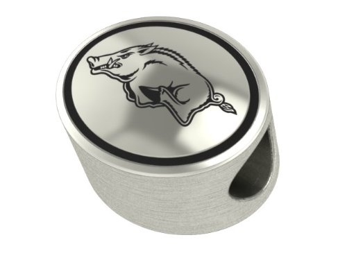Arkansas Razorback Collegiate Bead Fits Most Pandora Style Bracelets Including Pandora, Chamilia, Biagi, Zable, Troll and More. High Quality Bead in Stock for Immediate Shipping