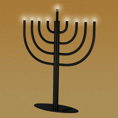 Zion Judaicatm Low Voltage Electric Hanukkah Menorah - Black