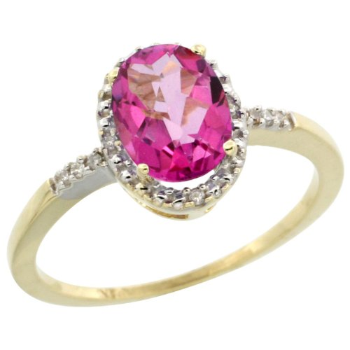 10k Gold ( 8x6 mm ) Halo Engagement Pink Topaz Ring w/ 0.033 Carat Brilliant Cut Diamonds & 1.35 Carats Oval Cut Stone, 3/8 in. (10mm) wide, size 5