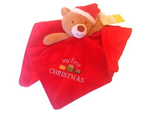 Babys My First Christmas Plush Teddy Bear Santa Snuggle Blanket Rattle - 1