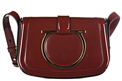 Salvatore Ferragamo borsa donna a spalla shopping in pelle nuova sabine bordeaux