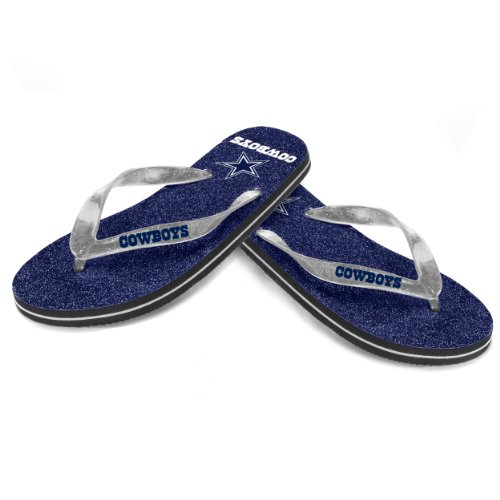 2014 Womens NFL Football Team Logo Glitter Thong Flip Flop Sandals - Choose Team (Dallas Cowboys, Extra Large (11-12)) at Amazon.com