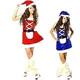 クリスマス サンタ コスチューム コスプレ 衣装 レディース セクシー 2way リバーシブル ワンピース サンタ 2点 セット 青×赤