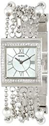 GUESS Womens U0140L1 Pearl Embellished  Silver-Tone Bracelet