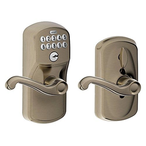 schlage-fe595-ply-620-fla-plymouth-keypad-entry-with-flex-lock-and-flair-style-levers-antique-pewter