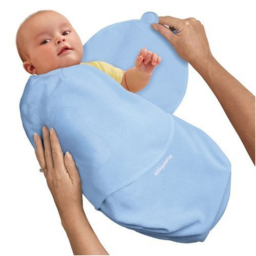 Kiddopotamus SwaddleMe Microfleece Adjustable Infant Wrap (Blue - Small)