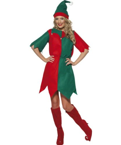 Smiffys Elf Costume - Red And Green - Ladies