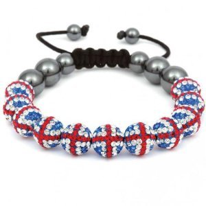 British Union Jack 11 Ball Crystal Shamballa Bracelet