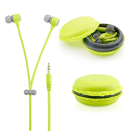 Green 3.5mm In Ear Earphones Earbuds Headset with Macaron Case For LG GM360 Viewty Snap (Lg Gm360 Case compare prices)