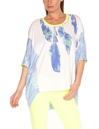 Derhy Women's  Printed Round Collar 3/4 SleeveT-Shirt Blue Blue