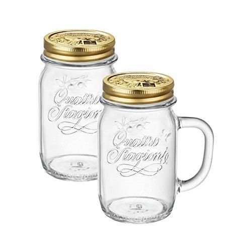 2er Set Trinkglas mit Henkel und Deckel Original Quattro Stagioni Glas 0,415L