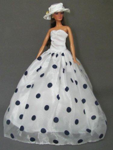 """Barbie Sized Doll Dress: Polka Dress with Hat Fits 11.5 """" Barbie Dolls"""