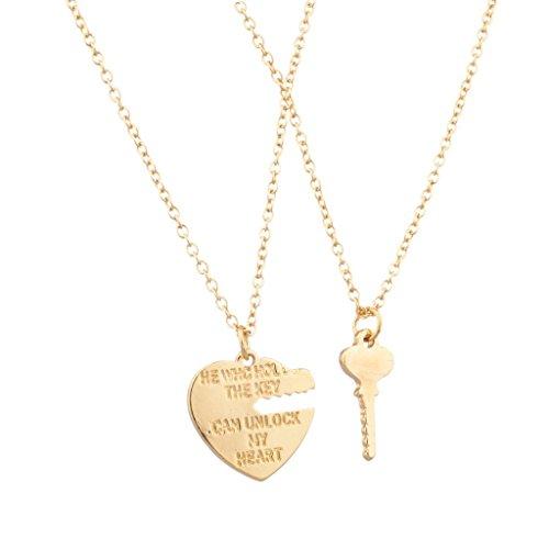 """Lux Accessories Set di 2 collane con ciondolo, per migliori amici, motivo """"He Who Holds The Key Can Unlock My Heart"""" (lingua inglese)"""