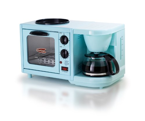Elite Cuisine EBK-200BL Maxi-Matic 3-in-1 Multifunction Breakfast Center, Blue (Coffee Maker Toaster Oven Combo compare prices)