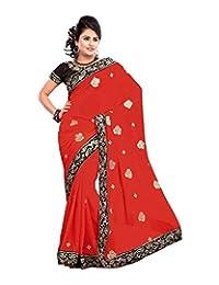 Bano Tradelink Women's Chiffon Saree (Red) - B00WI6NHRW
