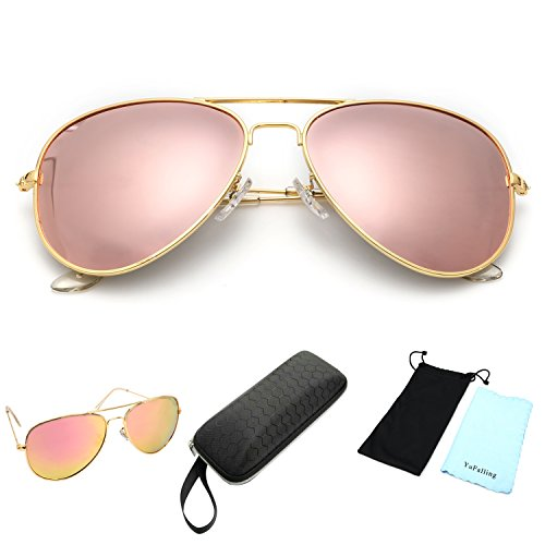 Image of YuFalling Polarized Aviator Sunglasses for Men and Women (gold frame/pink lens, 59)