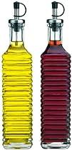 Storage Essentials Ribbed Glass Oil and Vinegar Cruet Set of 2