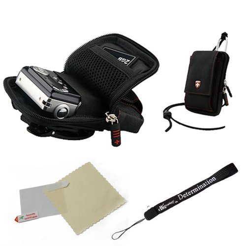 Black Swiss Protective Durable Camera Pouch With Removable Neck Strap For Kodak PlaySport / Zx5 / Zx3 / ZX1 Photo Camera & HD Waterproof Pocket Video Camera + Includes a Universal Anti-Glare Screen Protector Guard + Includes an eBigValue TM Determination