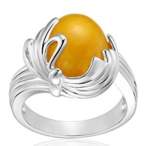 Sterling Silver and Yellow Jade Easter Egg Ring; size 7.0
