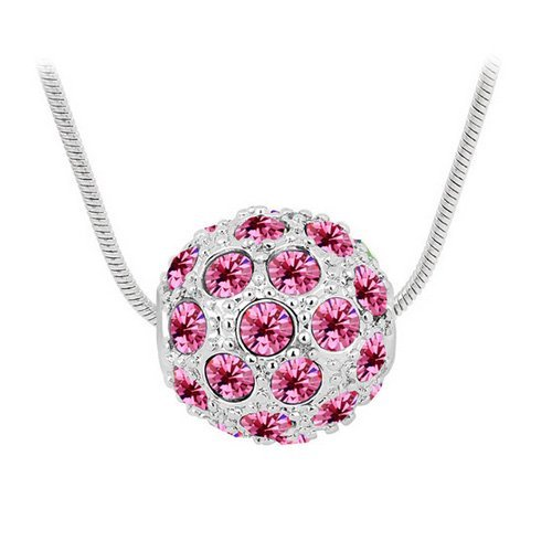 Top Value Jewelry - Brilliant 18K Gold Plated Pink Pave Crystal Ball Pendant Necklace, Free 18 Inch Chain