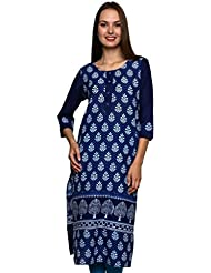 JAIPUR ATTIRE BLUE CASUAL COTTON JAIPUR PRINTED KURTI WITH LONG FULL SLEEVE FOR WOMEN AND GIRLS FOR ETHNIC TRADITIONAL...