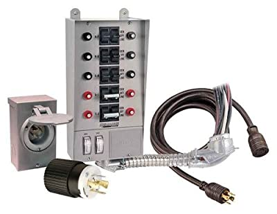 Reliance Controls 31410CRK Pro/Tran 10-Circuit 30 Amp Generator Transfer Switch Kit With Transfer Switch, 10-Foot Power Cord, And Power Inlet Box For Up To 8,000-Watt Generators