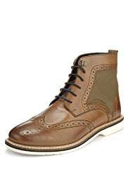 Leather Lace Up Brogue Boots [T72-3842L-S]