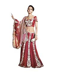 Anvi Creations Net Crepe Georgette Red Embroidered Lehenga Saree (Red_Free Size)