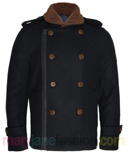 Mens Navy Double Breasted Wool Bellfield Collar Military Jacket Coat UK L
