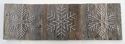 Large reclaimed wood snowflake string art trio. A unique Wedding, Anniversary, Birthday and Christmas gift. Perfect gift for skiers!