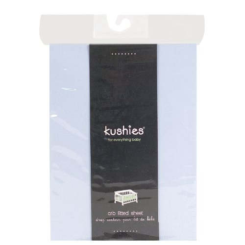 Kushies Percale Fitted Crib Sheet, Blue - 1