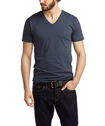 ESPRIT Herren T-Shirt Basic - V-Ausschnitt, Einfarbig, Gr. XXX-Large, Blau (STORMY SKY)