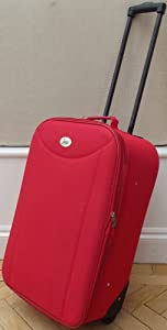 Bright Red Small 48 Lts Travel Luggage Suitcase On Wheels Expanding Trolly Light Weight