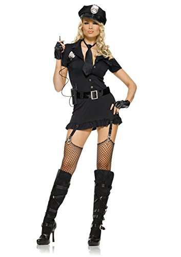 Women Dirty Cop Hat, Dress, Gloves, Belt, Tie & Walkie Talkie Costumes