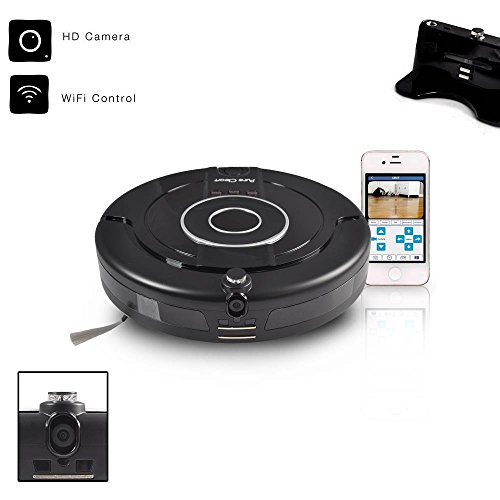 Smart Robotic Vacuum Floor Cleaner with Built in Camera - Schedule Automatic Cleaning and Remotely Control Robot from IOS/ Android Mobile App - PureClean PUCRCAM75 (Robot Hard Floor Vacuum compare prices)