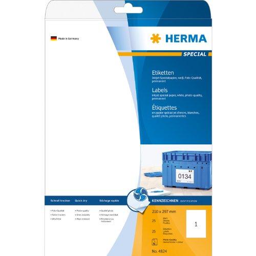 Etiquettes jet d'encre blanc 210x297  InkPrint Spec.25 pcs HERMA 4824