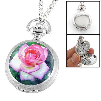 Rose Print Hunter Case Silver Tone Chain Necklace