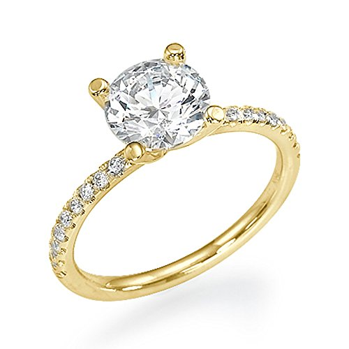 0.80 CT Yellow Gold Engagement Ring Round Cut Natural Diamond with Sidestones H/SI1 (Clarity Enhanced) 18ct