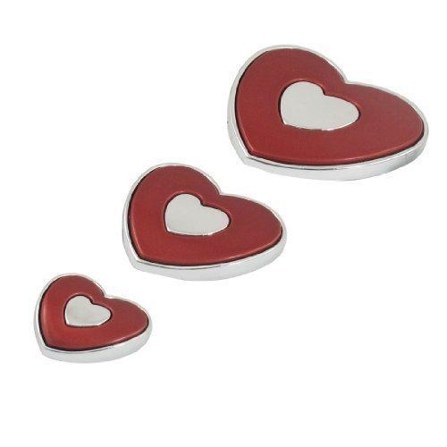 3 Pcs Rouge Ton Argent Plastique En Forme De Coeur Auto Emblème Portière Voiture Badge Autocollants
